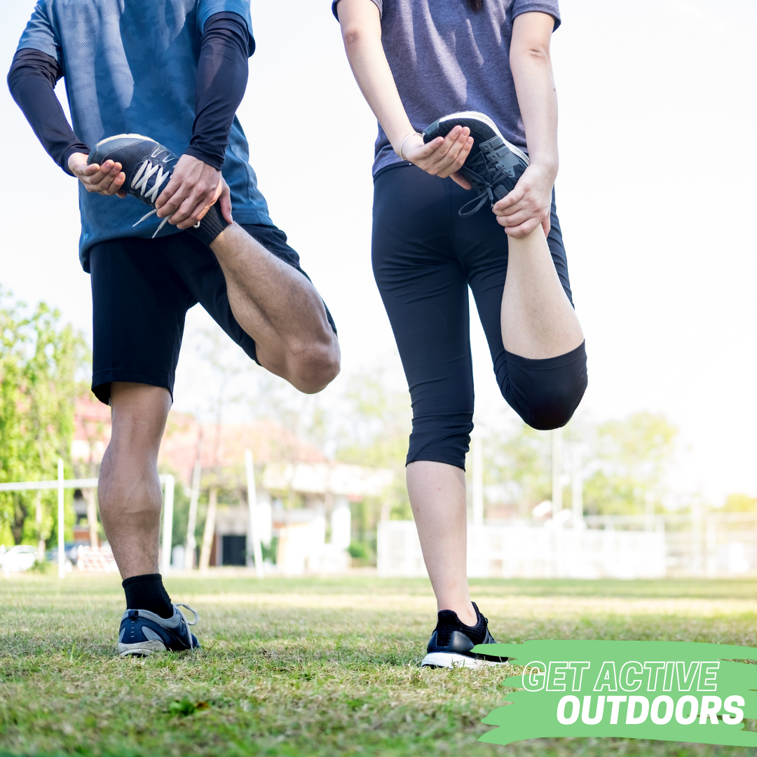 get active outdoors people stretching outside