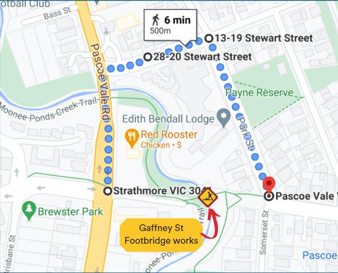 Gaffney St Footbridge detour